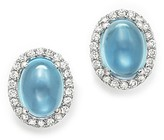 Bloomingdale's Blue Topaz Cabochon and Diamond Earrings in 14K White Gold