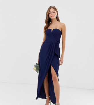 TFNC bridesmaid exclusive bandeau wrap midaxi dress with pleated detail in navy