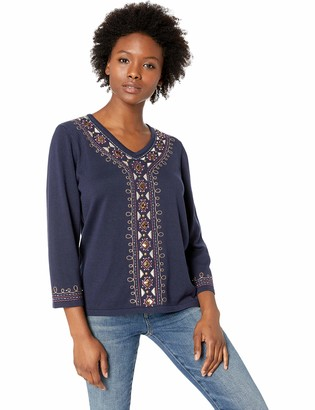 Alfred Dunner Women's Petite Embroidered Center and Cuff top