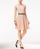 Tommy Hilfiger Rib-Knit Belted Fit & Flare Dress, Only at Macy's
