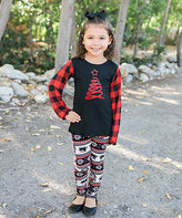 Beary Basics Red Ribbon Tree Tee & Cream Fair Isle Leggings - Toddler & Girls