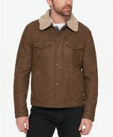 Levi's Washed Faux Leather Trucker With Removable Sherpa Lined Collar