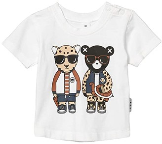 HUXBABY Leopard Friends T-Shirt (Infant/Toddler) (White) Kid's Clothing