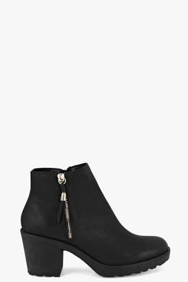 boohoo Fringe Trim Block Heel Chelsea Boots