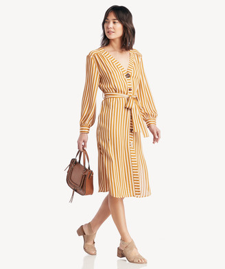 Moon River Women's Buttoned V Neck Shirt Dress In Color: Mustard/ivory Size XS From Sole Society