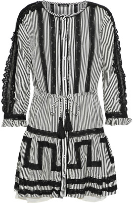 Love Sam Crocheted-trimmed Striped Cotton-blend Mini Dress