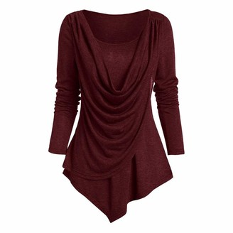 Lialbert Women's Winter Casual Solid Color Long Sleeve O Neck Pullover Show Thin and Loose Street Tops Red