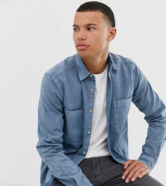 Asos Design DESIGN Tall overshirt with double pockets in washed blue