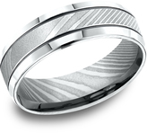 Ice Men's Damascus Steel 7mm Comfort-Fit Beveled Edge Blackened Cuts Design Ring
