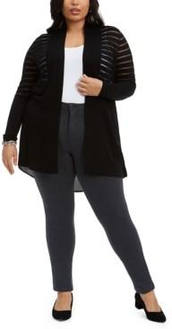 Belldini Plus Size High-Low Cardigan