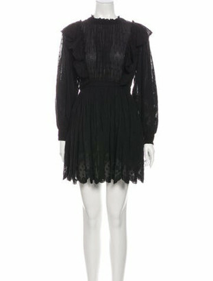 Ulla Johnson Mock Neck Mini Dress Black