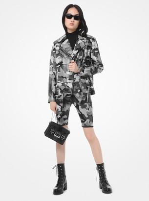 MICHAEL Michael Kors Camouflage-Print Leather Moto Jacket