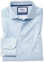 Slim Fit Semi-cutaway Business Casual Diamond Print White And Blue Egyptian Cotton Formal Shirt Single Cuff Size 18/37 By Charles Tyrwhitt