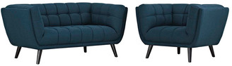 Modway Bestow 2Pc Upholstered Fabric Loveseat & Armchair Set