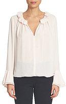 CeCe Long Ruffled Sleeve & Collar Keyhole Blouse