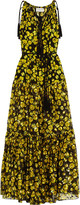 Lanvin Floral-print silk-chiffon and fil-coupé gown