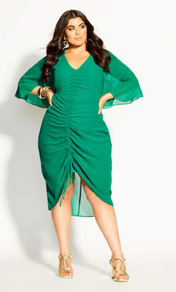 City Chic Drawn Up Dress - green