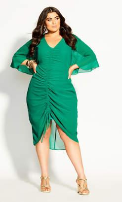 City Chic Drawn Up Dress - green