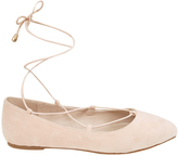 Yours Clothing Nude Lace Up Ballerina Pump In E Fit
