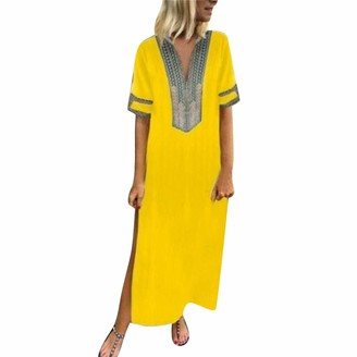 Lanskirt Women Dress LANSKIRT-WOMEN DRESS Women's Printed Hem Baggy Kaftan Long V-Neck Beach Dress Casual Thigh Slit Sundress Cotton Midi Sleeve 4XL Yellow