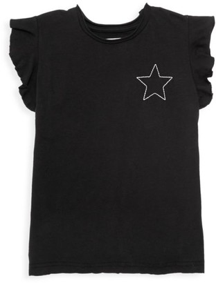 Nununu Little Girl's Star-Embroidered Flutter Tee