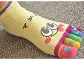 HuntGold 1X Cute Cartoon Women Girl Smile Five Fingers Ankle Socks Colors Sports Toe Socks