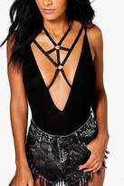 boohoo Laura Strappy Bralet Body Harness black