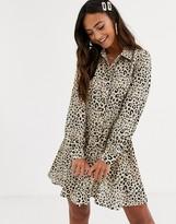 In The Style x Dani Dyer animal print mini skater shirt dress