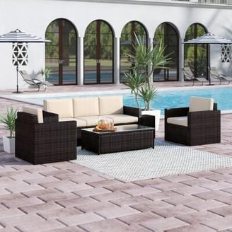 Belton 4 Piece Rattan Sofa Seating Group with Cushions Mercury Row Fabric: Sand
