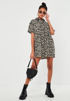 Missguided Gray Leopard Print Smock Shirt Dress