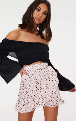 PrettyLittleThing Navy Polka Dot Frill Hem Wrap Mini Skirt