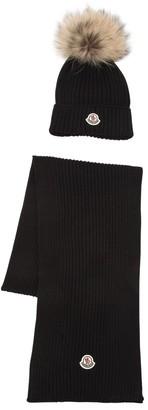 Moncler Virgin Wool Knit Hat & Scarf W/ Fur