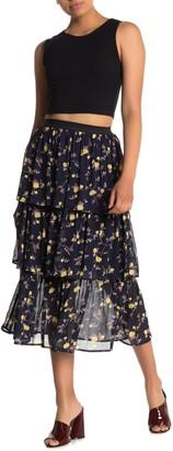 Lush Floral Chiffon Tiered Skirt