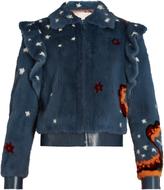 Valentino Wonderland-print mink-fur bomber jacket
