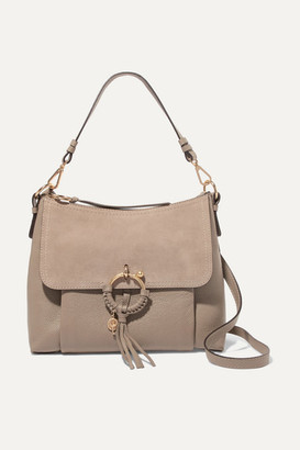 See by Chloe Joan Medium Suede-paneled Textured-leather Shoulder Bag - Gray