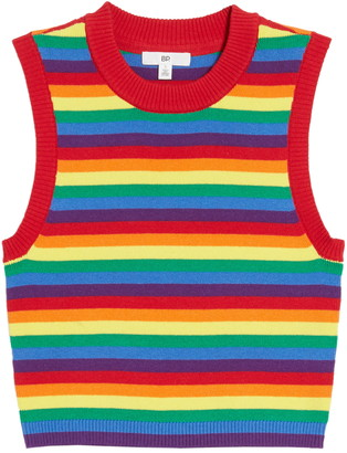 BP Be Proud by Gender Inclusive Stripe Crop Sweater Tank