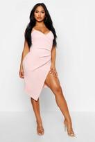 boohoo Inna Strappy Wrap Pleated Bodycon Midi Dress peach