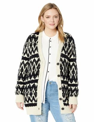 Lucky Brand Women's Plus Size Diamond Fairisle Cardigan Sweater