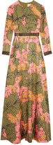 Roksanda Kamanev Leather-trimmed Floral-print Silk-twill Gown - Green