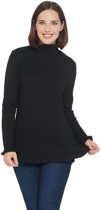 Isaac Mizrahi Live! Long Sleeve Mock Neck Knit Tunic with Ruffle Hem
