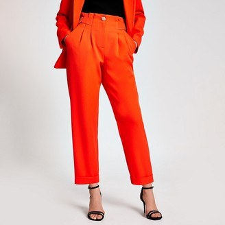 River Island Orange buckle waist peg leg trousers