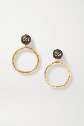 Dolce & Gabbana Gold-tone And Wood Hoop Clip Earrings - Dark brown