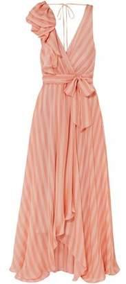 Temperley London Linden Asymmetric Wrap-effect Striped Silk-chiffon Maxi Dress