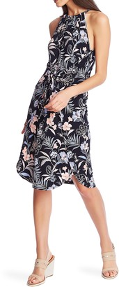 1 STATE 1.STATE Paisley Fields Halter Neck Tie Front Dress