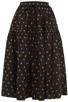 Cecilie Bahnsen - Adea Floral Fil-coupe Cotton Skirt - Womens - Black Yellow