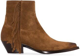 Saint Laurent Lukas fringed ankle boots