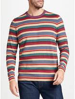 John Lewis Cotton Cashmere Multi Stripe Jumper, Red