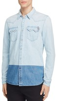 Scotch & Soda Color Block Denim Slim Fit Snap Front Shirt