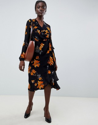 InWear Vale Ruffle Floral Print Dress-Black