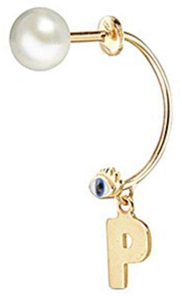 Delfina Delettrez 'ABC Micro Eye Piercing' freshwater pearl 18k yellow gold single earring - P